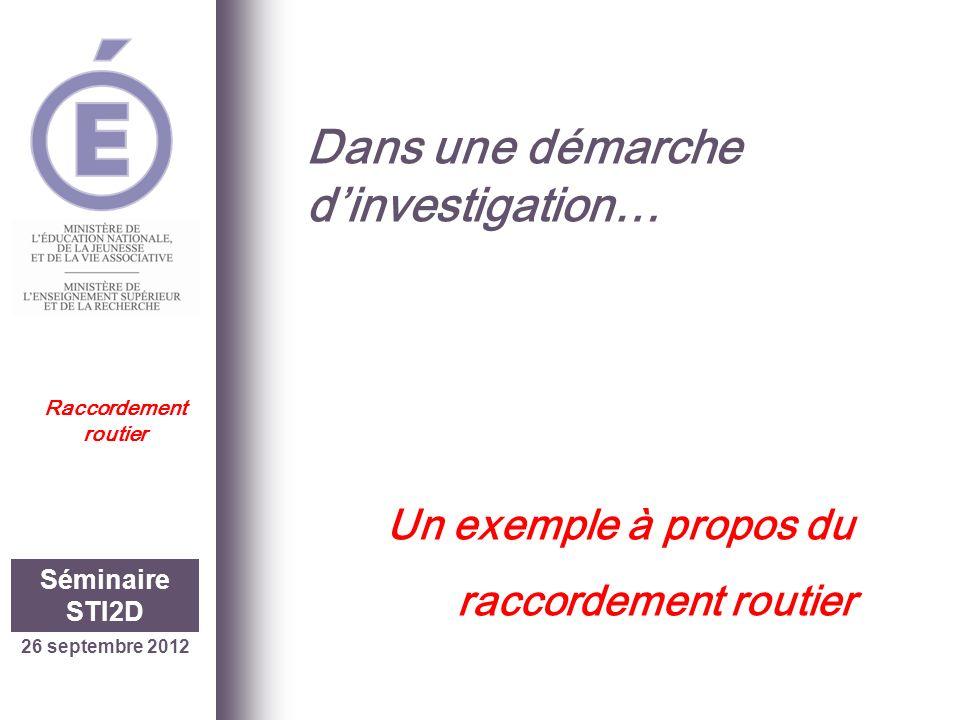 Dans une démarche dinvestigation… Un exemple à propos du raccordement routier 26 septembre 2012 Séminaire STI2D Raccordement routier