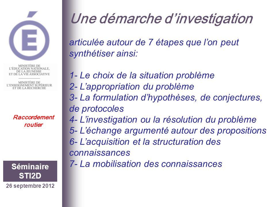 Une démarche dinvestigation 26 septembre 2012 Séminaire STI2D Raccordement routier articulée autour de 7 étapes que lon peut synthétiser ainsi: 1- Le