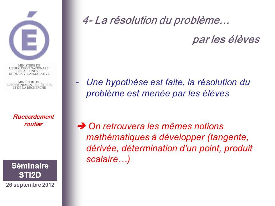 26 septembre 2012 Séminaire STI2D Raccordement routier 4- La résolution du problème… par les élèves -Une hypothèse est faite, la résolution du problèm