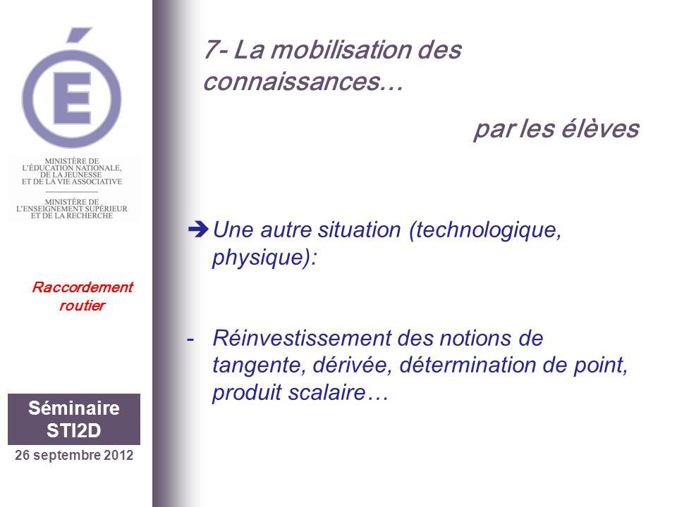 26 septembre 2012 Séminaire STI2D Raccordement routier 7- La mobilisation des connaissances… par les élèves Une autre situation (technologique, physiq