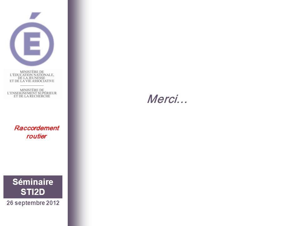 26 septembre 2012 Séminaire STI2D Raccordement routier Merci…