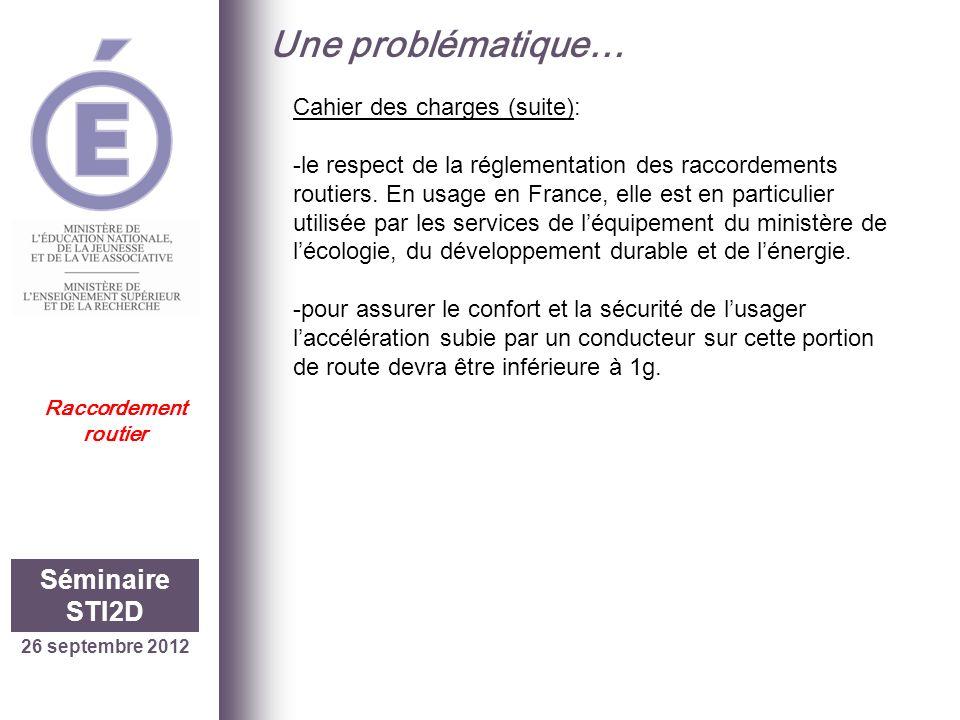 26 septembre 2012 Séminaire STI2D Raccordement routier Une problématique… Cahier des charges (suite): -le respect de la réglementation des raccordemen