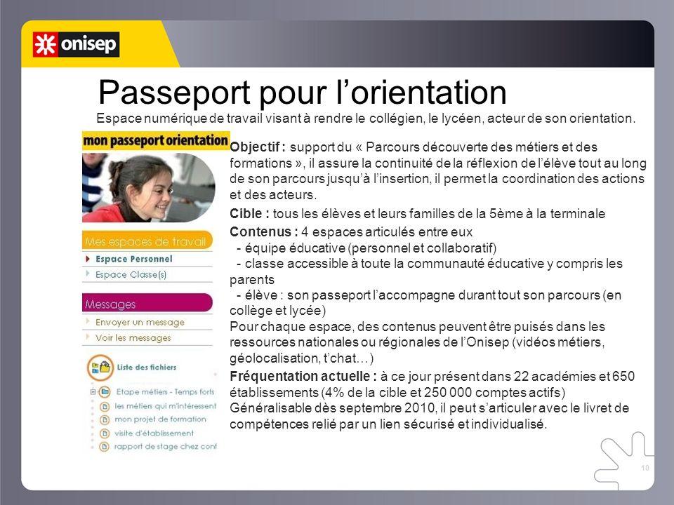 10 Passeport pour lorientation Espace numérique de travail visant à rendre le collégien, le lycéen, acteur de son orientation. Objectif : support du «