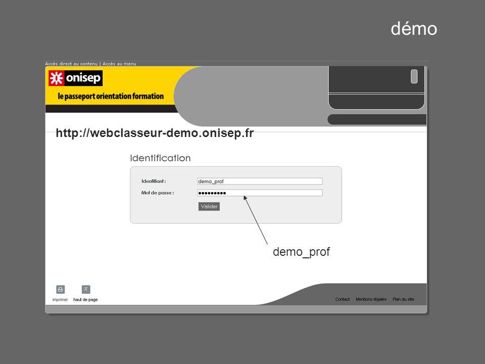 démo http://webclasseur-demo.onisep.fr demo_prof