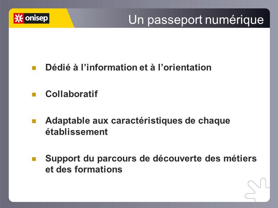 Un passeport numérique Dédié à linformation et à lorientation Collaboratif Adaptable aux caractéristiques de chaque établissement Support du parcours