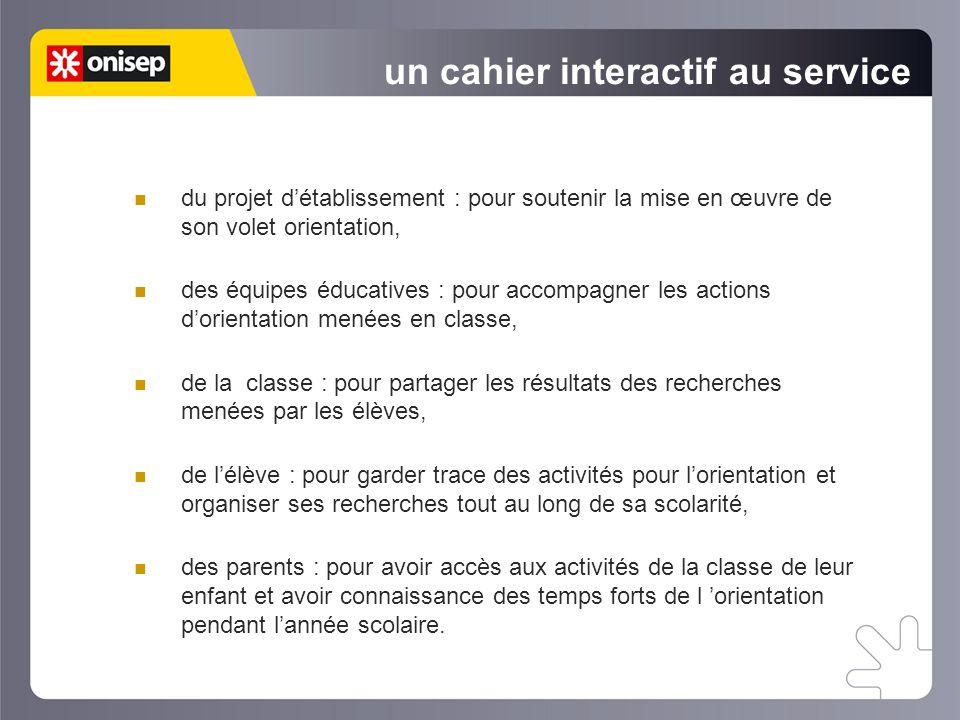 un cahier interactif au service du projet détablissement : pour soutenir la mise en œuvre de son volet orientation, des équipes éducatives : pour acco