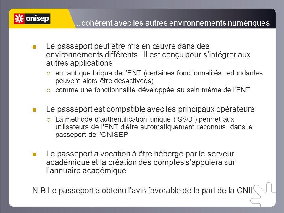…cohérent avec les autres environnements numériques Le passeport peut être mis en œuvre dans des environnements différents.