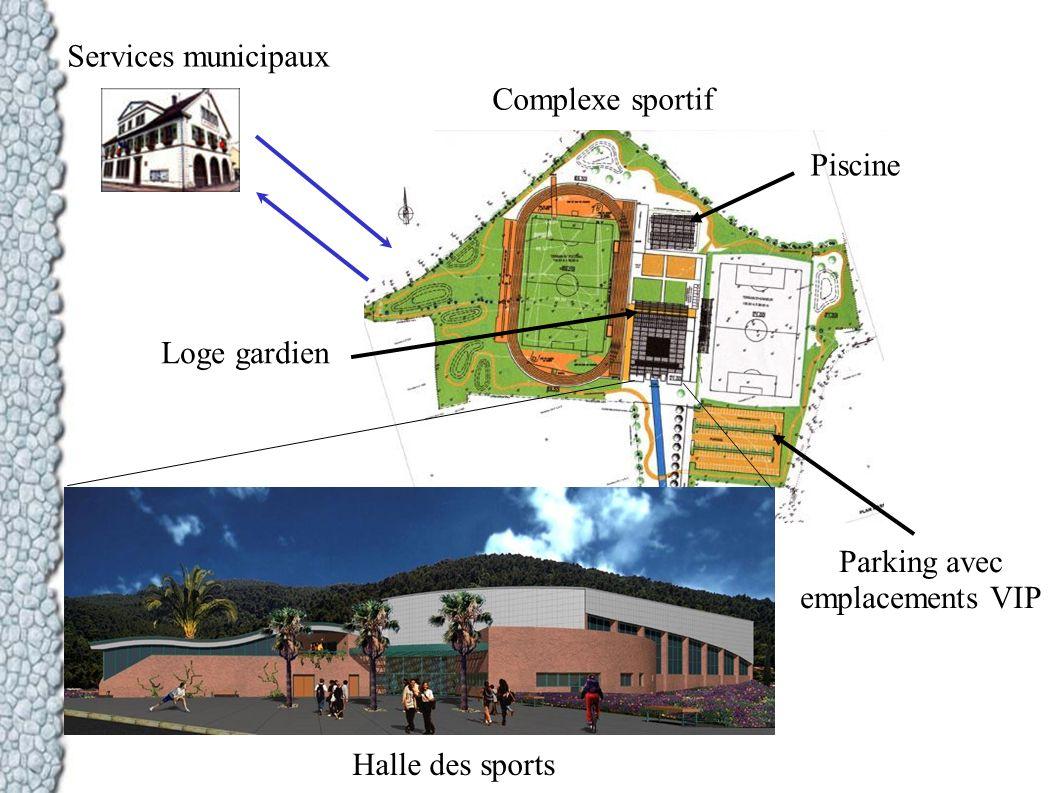 Services municipaux Complexe sportif Piscine Halle des sports Parking avec emplacements VIP Loge gardien
