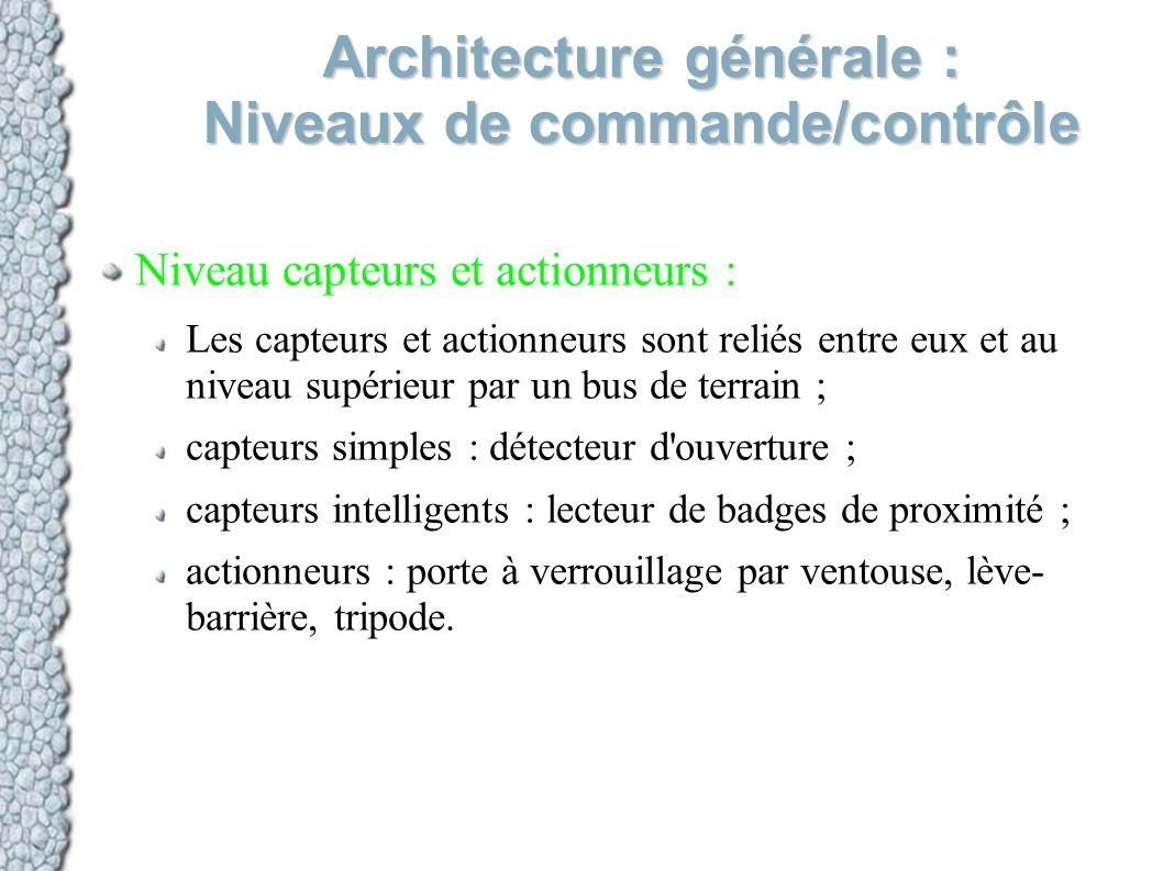 Architecture générale : Niveaux de commande/contrôle Niveau capteurs et actionneurs : Les capteurs et actionneurs sont reliés entre eux et au niveau s