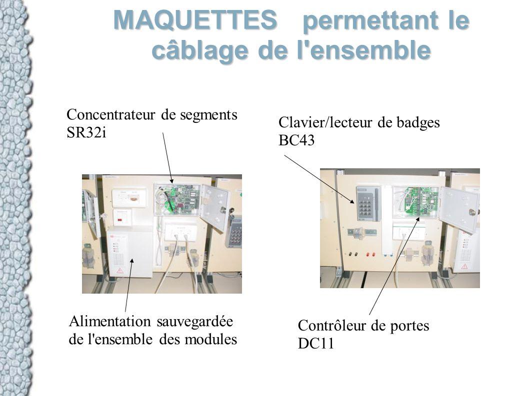 MAQUETTES permettant le câblage de l'ensemble Clavier/lecteur de badges BC43 Contrôleur de portes DC11 Concentrateur de segments SR32i Alimentation sa