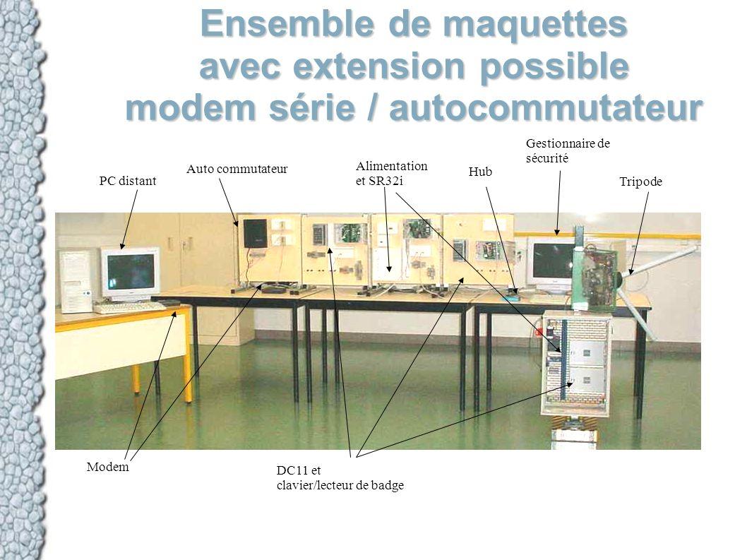 Ensemble de maquettes avec extension possible modem série / autocommutateur PC distant Modem Auto commutateur DC11 et clavier/lecteur de badge Aliment