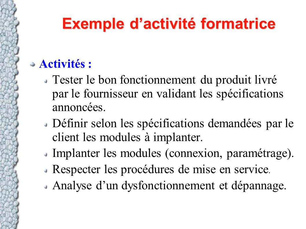 Exemple dactivité formatrice Activités : Tester le bon fonctionnement du produit livré par le fournisseur en validant les spécifications annoncées. Dé
