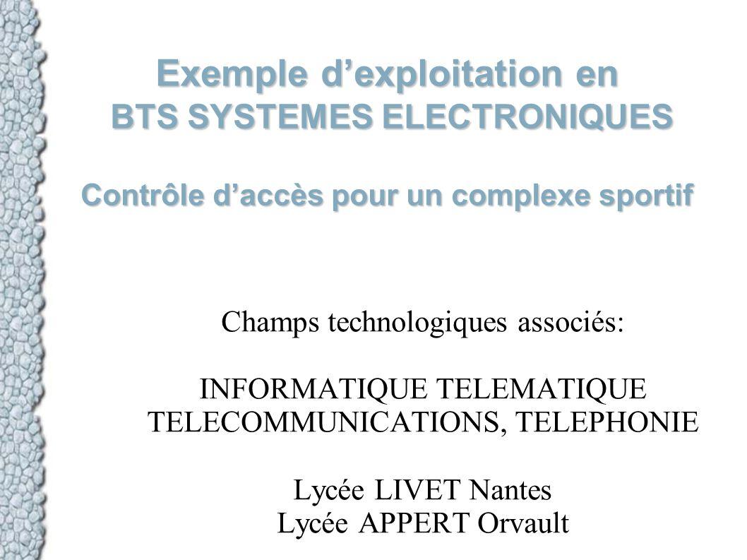 Exemple dexploitation en BTS SYSTEMES ELECTRONIQUES Contrôle daccès pour un complexe sportif Champs technologiques associés: INFORMATIQUE TELEMATIQUE