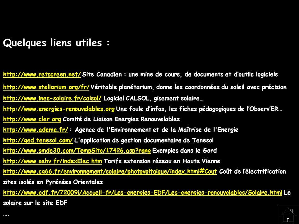 Quelques liens utiles : http://www.retscreen.net/http://www.retscreen.net/ Site Canadien : une mine de cours, de documents et doutils logiciels http:/