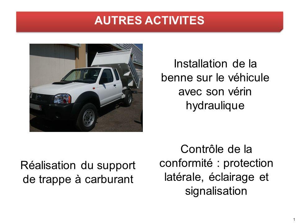 AUTRES ACTIVITES Installation de la benne sur le véhicule avec son vérin hydraulique Contrôle de la conformité : protection latérale, éclairage et sig