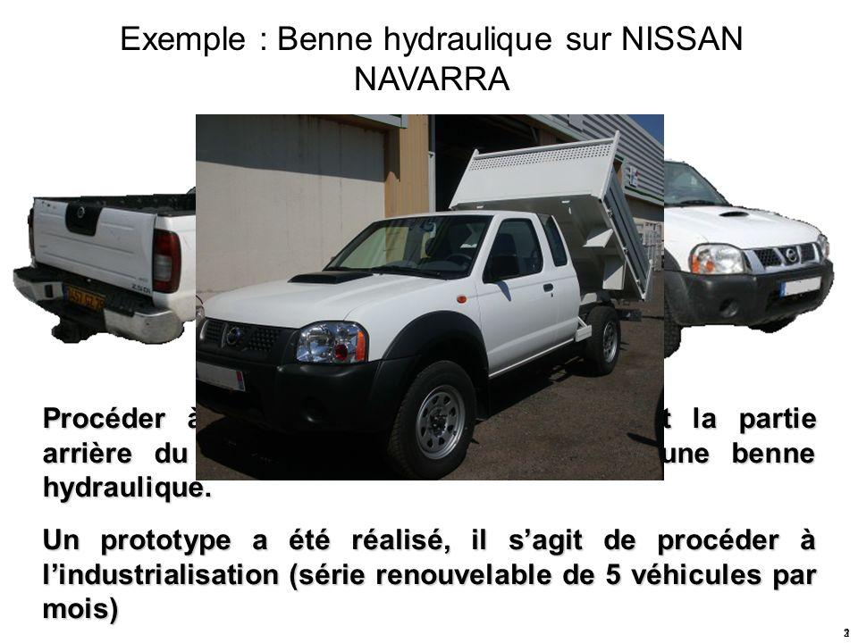 Exemple : Benne hydraulique sur NISSAN NAVARRA Procéder à la modification en remplaçant la partie arrière du pick-up par une réalisation dune benne hy