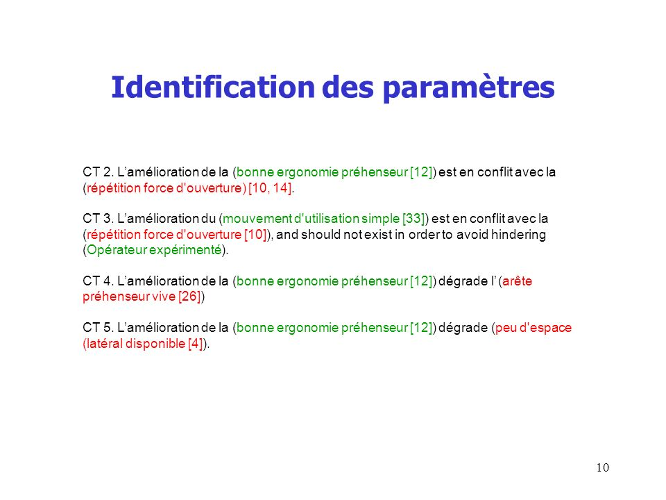 Identification des paramètres CT 2.