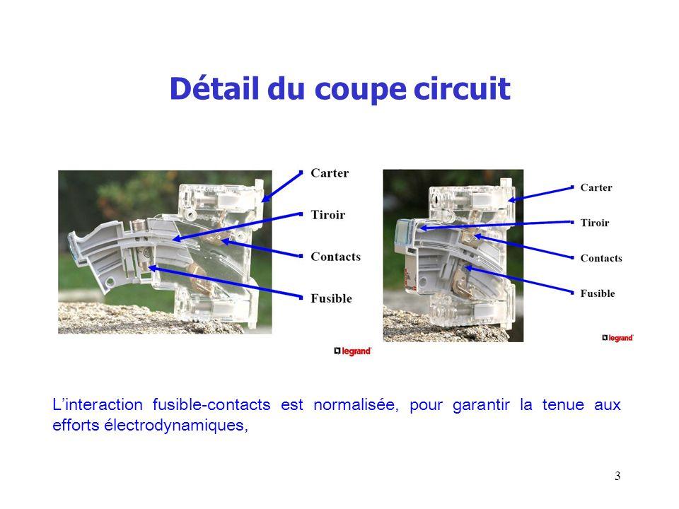 Détail du coupe circuit 3 Linteraction fusible-contacts est normalisée, pour garantir la tenue aux efforts électrodynamiques,