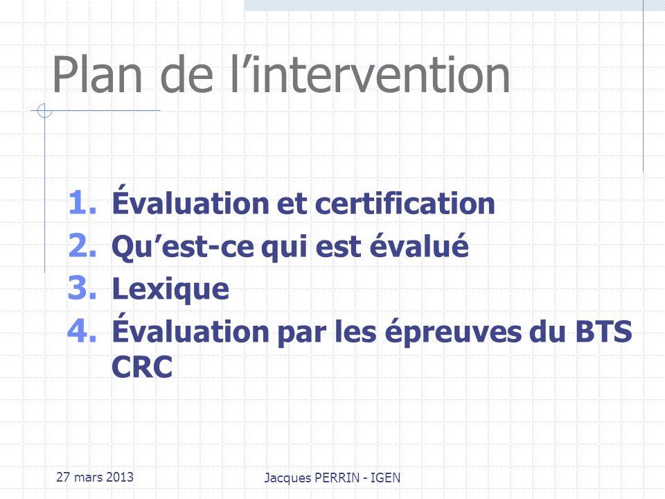 27 mars 2013Jacques PERRIN BTS CONCEPTION ET REALISATION DE CARROSSERIES Méthodes dévaluation et de certification Paris FFC