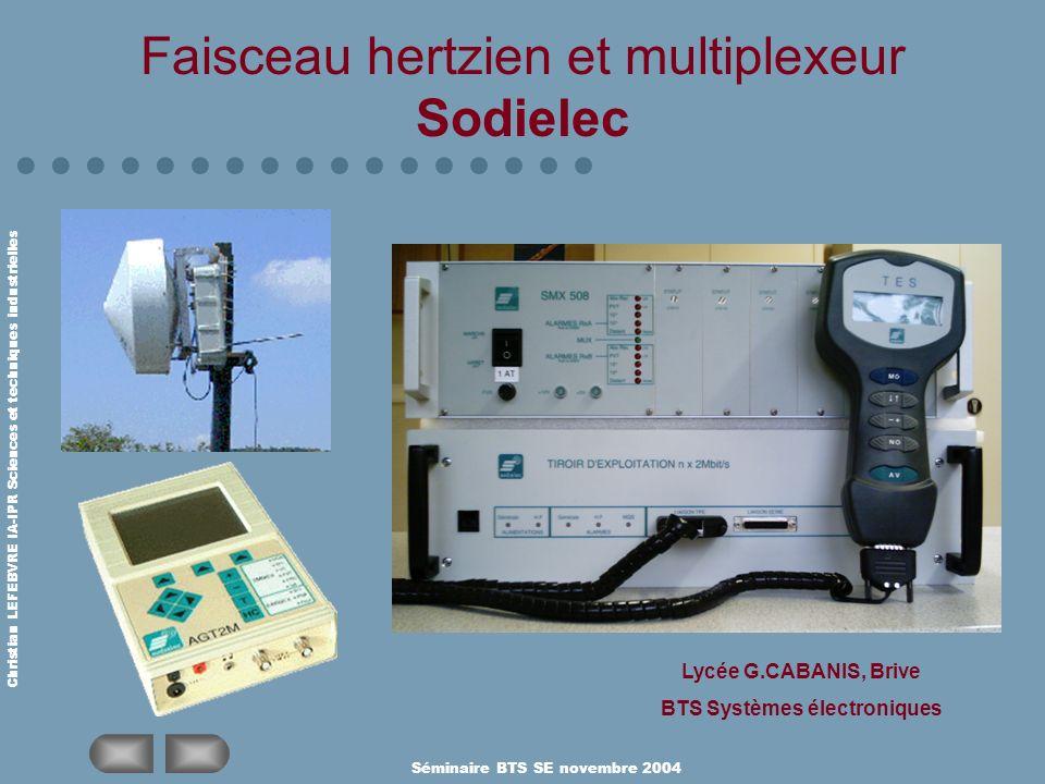 Christian LEFEBVRE IA-IPR Sciences et techniques industrielles Séminaire BTS SE novembre 2004 Faisceau hertzien et multiplexeur