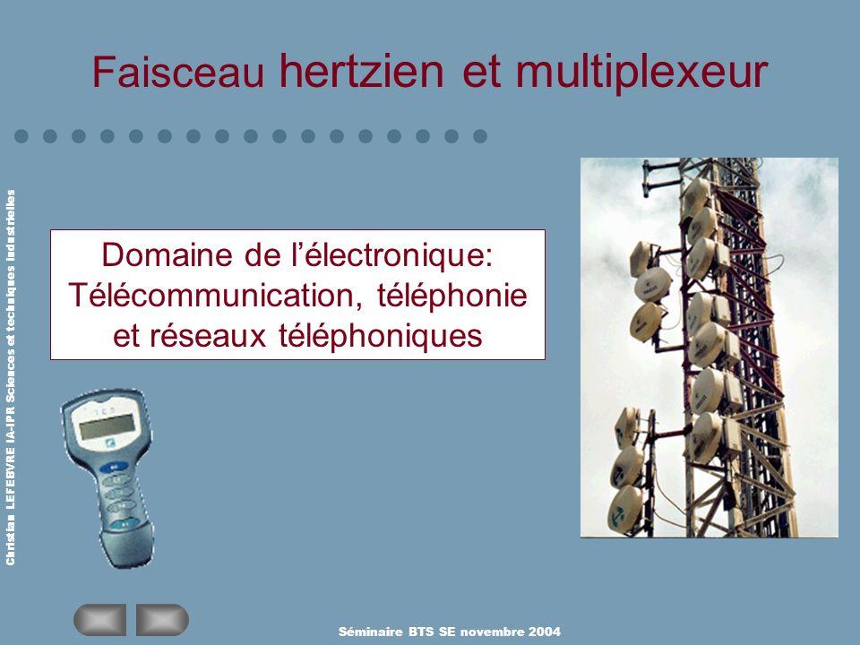 Christian LEFEBVRE IA-IPR Sciences et techniques industrielles Séminaire BTS SE novembre 2004 Faisceau hertzien et multiplexeur Domaine de lélectroniq