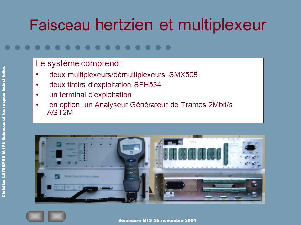 Christian LEFEBVRE IA-IPR Sciences et techniques industrielles Séminaire BTS SE novembre 2004 Faisceau hertzien et multiplexeur Le système comprend :