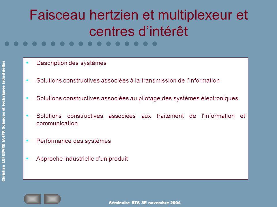 Christian LEFEBVRE IA-IPR Sciences et techniques industrielles Séminaire BTS SE novembre 2004 Faisceau hertzien et multiplexeur et centres dintérêt De