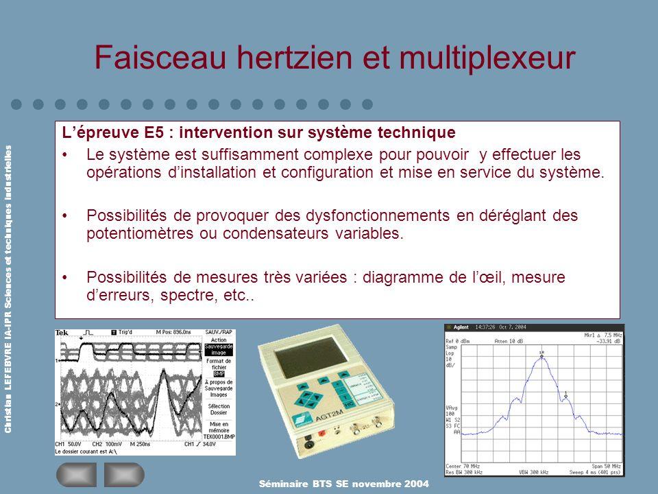 Christian LEFEBVRE IA-IPR Sciences et techniques industrielles Séminaire BTS SE novembre 2004 Faisceau hertzien et multiplexeur Lépreuve E5 : interven