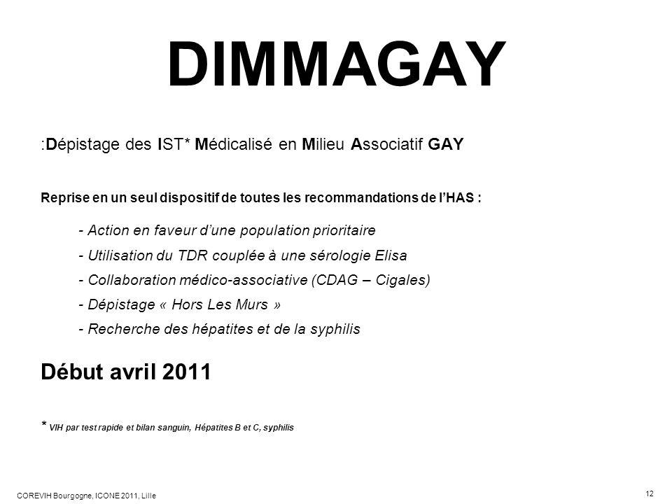 12 COREVIH Bourgogne, ICONE 2011, Lille DIMMAGAY :Dépistage des IST* Médicalisé en Milieu Associatif GAY Reprise en un seul dispositif de toutes les r