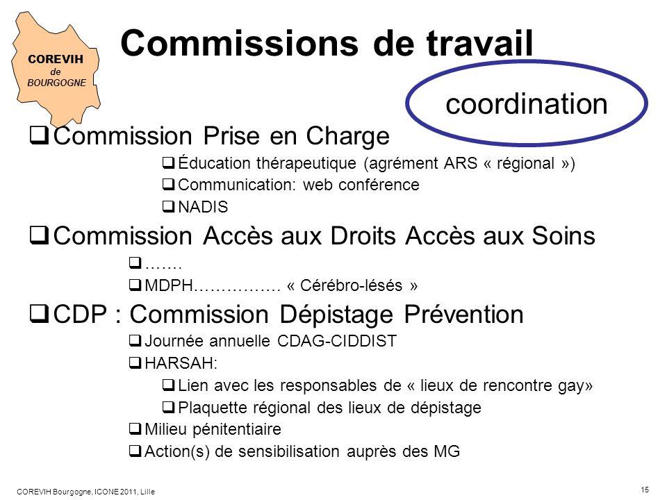 15 COREVIH Bourgogne, ICONE 2011, Lille Commission Prise en Charge Éducation thérapeutique (agrément ARS « régional ») Communication: web conférence N