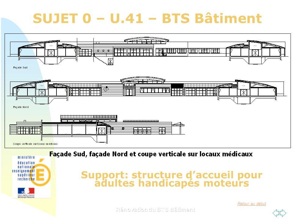 Retour au début SUJET 0 – U.41 – BTS Bâtiment Rénovation du BTS Bâtiment Support: structure daccueil pour adultes handicapés moteurs