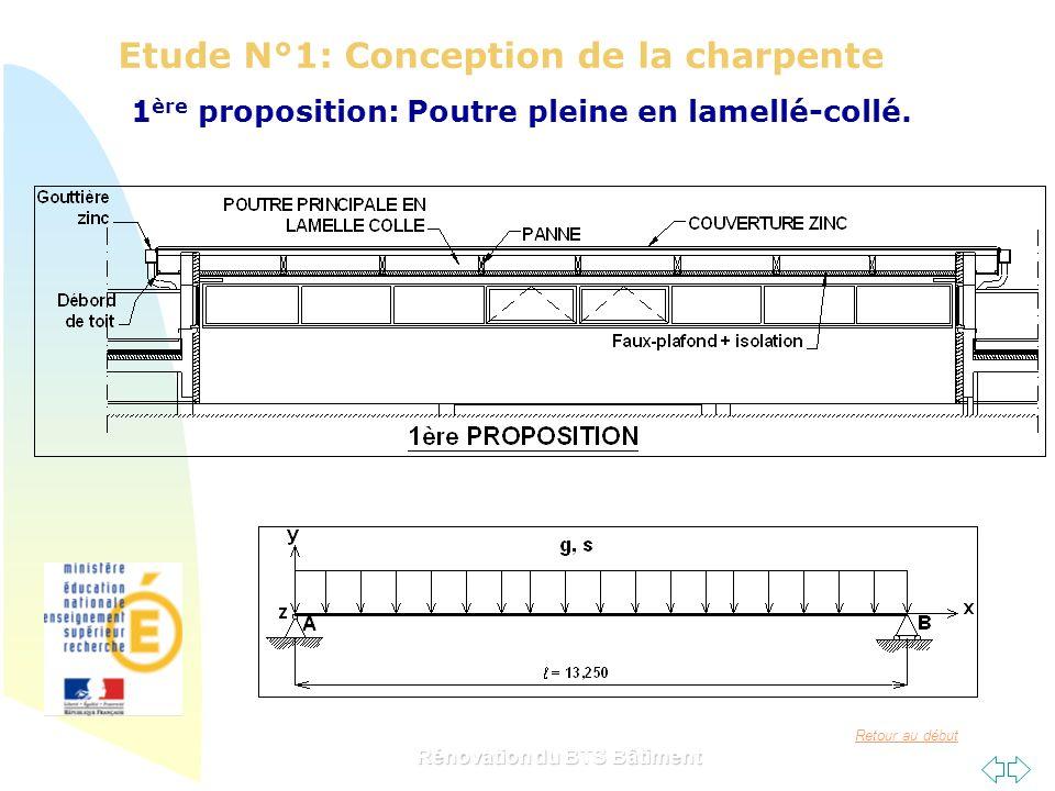 Retour au début Rénovation du BTS Bâtiment Etude N°1: Conception de la charpente 1 ère proposition: Poutre pleine en lamellé-collé.