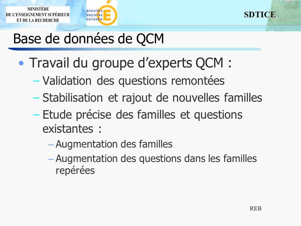 SDTICE REB Base de données de QCM Travail du groupe dexperts QCM : –Validation des questions remontées –Stabilisation et rajout de nouvelles familles