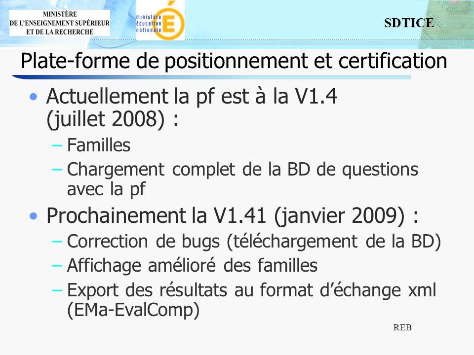 SDTICE REB Plate-forme de positionnement et certification Actuellement la pf est à la V1.4 (juillet 2008) : –Familles –Chargement complet de la BD de