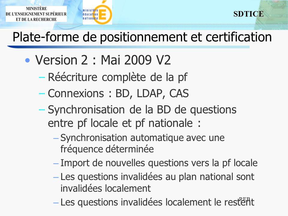 SDTICE REB Plate-forme de positionnement et certification Version 2 : Mai 2009 V2 –Réécriture complète de la pf –Connexions : BD, LDAP, CAS –Synchroni