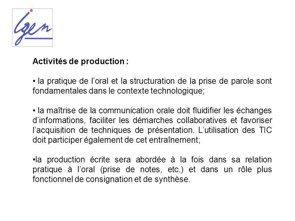 Activités de production : la pratique de loral et la structuration de la prise de parole sont fondamentales dans le contexte technologique; la maîtris