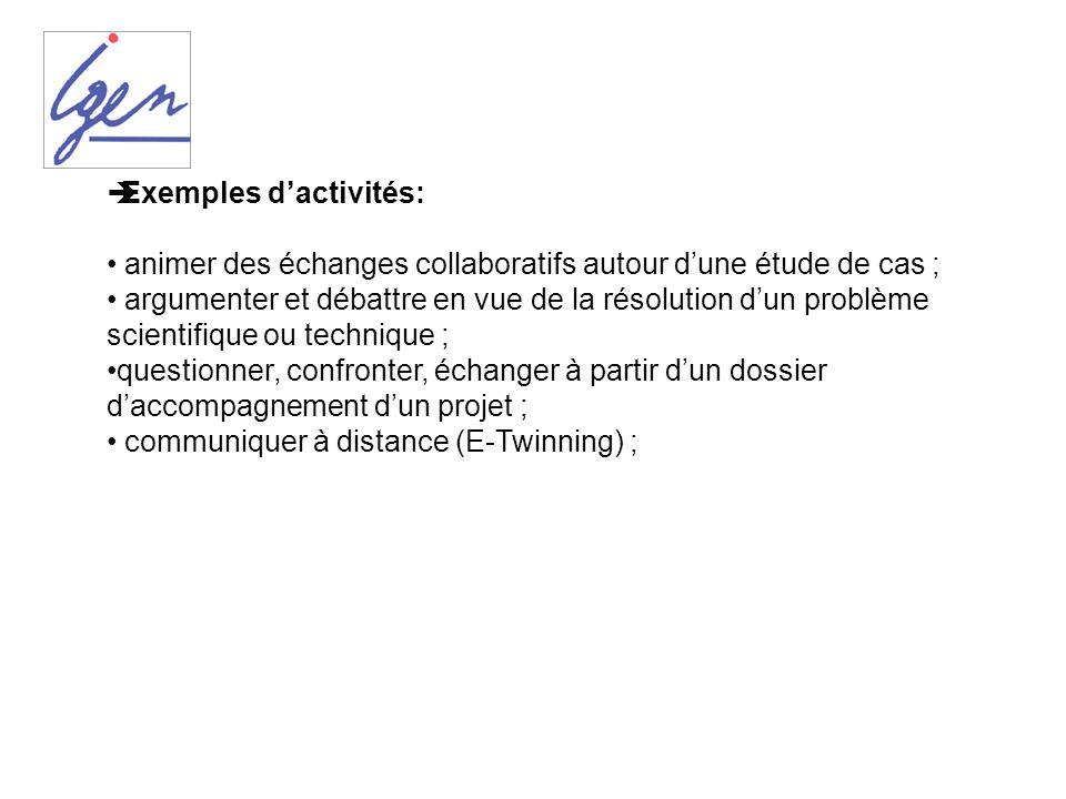 Exemples dactivités: animer des échanges collaboratifs autour dune étude de cas ; argumenter et débattre en vue de la résolution dun problème scientif