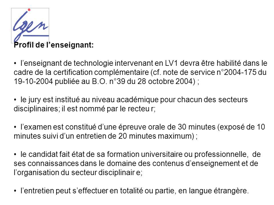 Profil de lenseignant: lenseignant de technologie intervenant en LV1 devra être habilité dans le cadre de la certification complémentaire (cf. note de