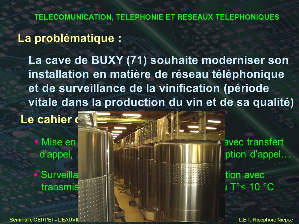 Séminaire CERPET - DEAUVILLE - 22, 23 et 24 novembre 2004 L.E.T. Nicéphore Niepce La problématique : La cave de BUXY (71) souhaite moderniser son inst
