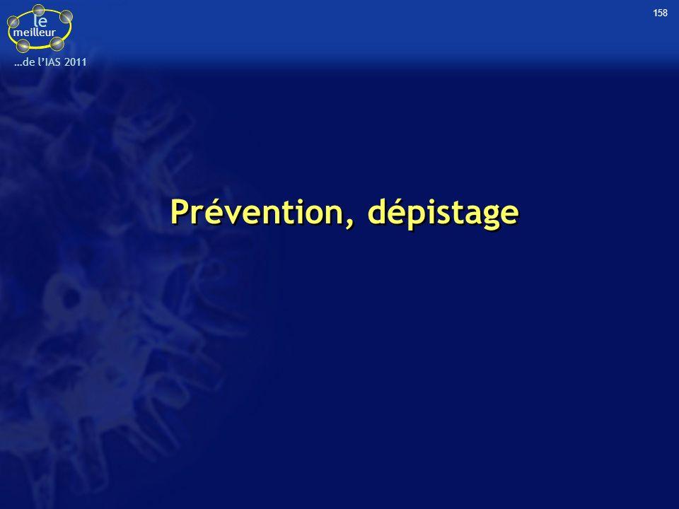 le meilleur …de lIAS 2011 Etude ANRS-12126 : efficacité protectrice de la circoncision masculine démontrée dans la vraie vie en Afrique du Sud (1) Contexte –3 essais randomisés ont démontré l efficacité protectrice de la circoncision (réduction de 60 % du risque d acquisition du VIH) –L efficience (effectiveness = effet en pratique courante) est inconnue Questions : dans un contexte de généralisation communautaire de la circoncision –Quel est le taux de réalisation de la circoncision .
