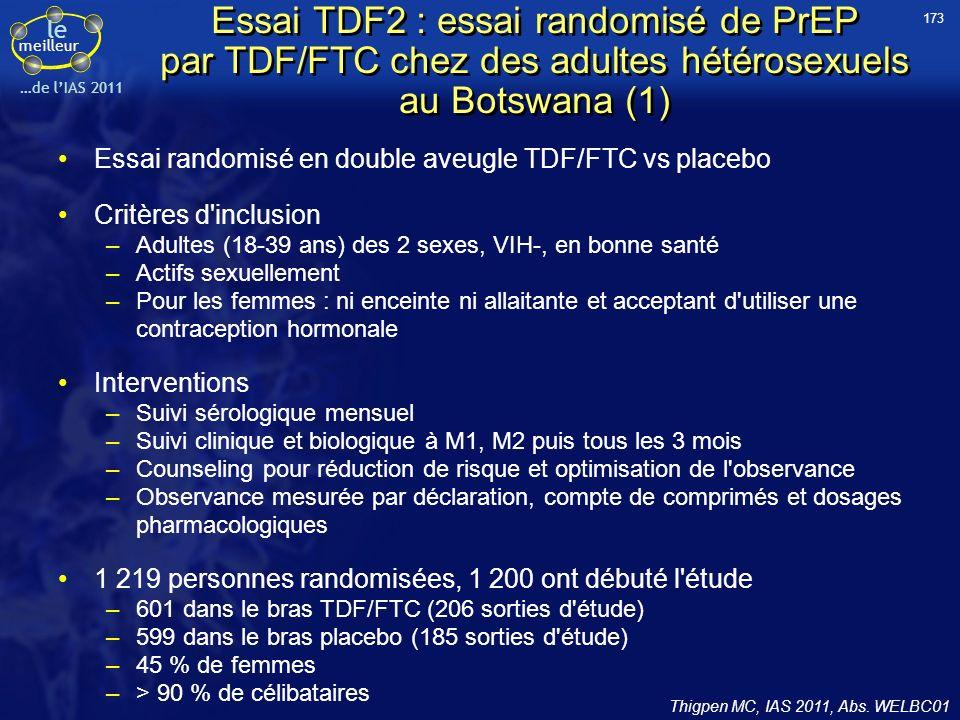 le meilleur …de lIAS 2011 Essai TDF2 : essai randomisé de PrEP par TDF/FTC chez des adultes hétérosexuels au Botswana (1) Essai randomisé en double av