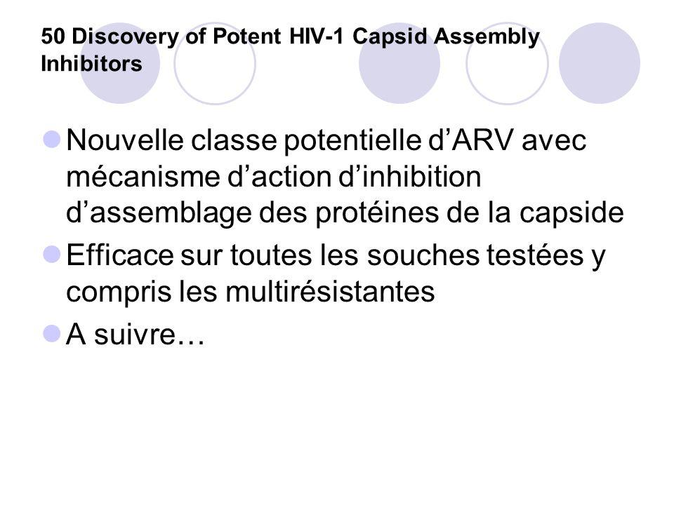 50 Discovery of Potent HIV-1 Capsid Assembly Inhibitors Nouvelle classe potentielle dARV avec mécanisme daction dinhibition dassemblage des protéines