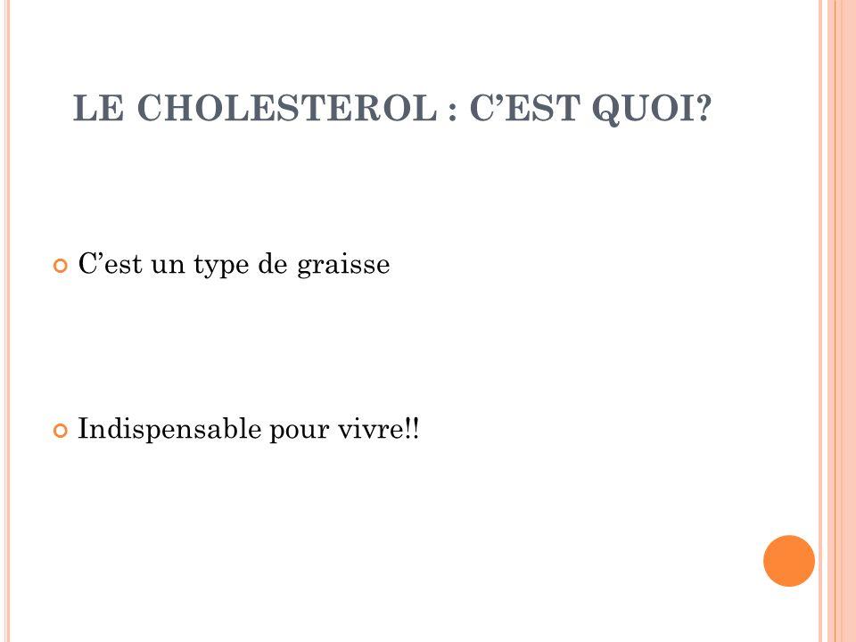 LE CHOLESTEROL : CEST QUOI? Cest un type de graisse Indispensable pour vivre!!