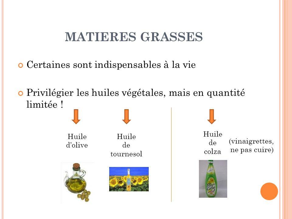 MATIERES GRASSES Certaines sont indispensables à la vie Privilégier les huiles végétales, mais en quantité limitée ! Huile dolive Huile de colza Huile