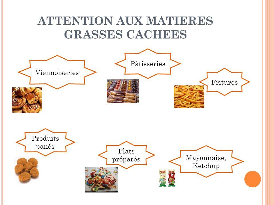 ATTENTION AUX MATIERES GRASSES CACHEES Viennoiseries Pâtisseries Plats préparés Mayonnaise, Ketchup Fritures Produits panés