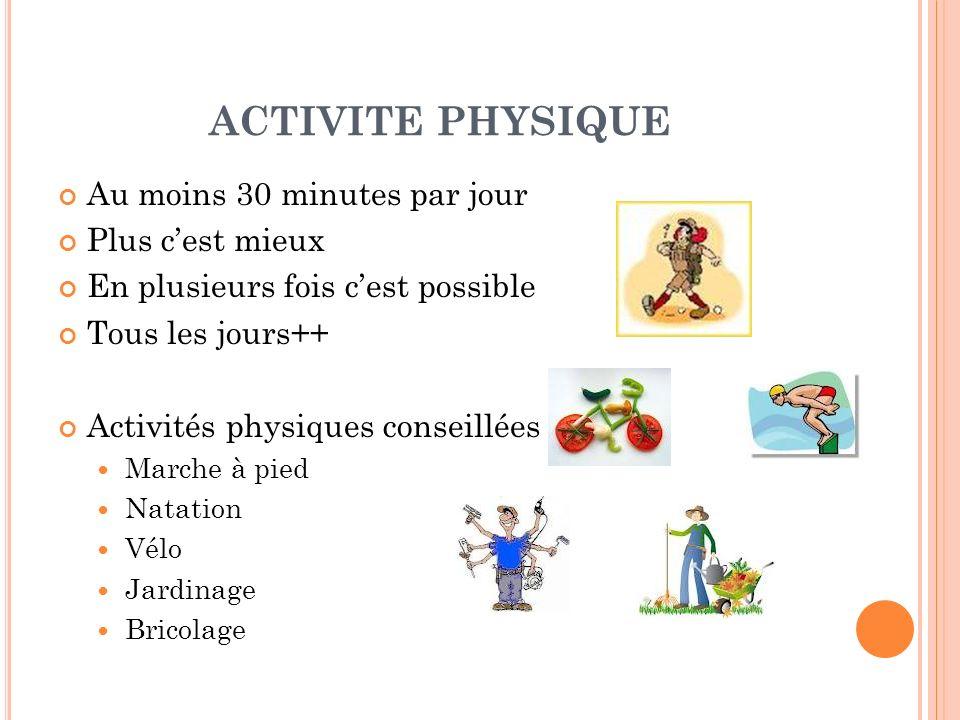 ACTIVITE PHYSIQUE Au moins 30 minutes par jour Plus cest mieux En plusieurs fois cest possible Tous les jours++ Activités physiques conseillées : Marc