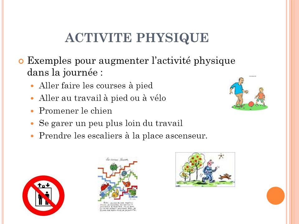 ACTIVITE PHYSIQUE Exemples pour augmenter lactivité physique dans la journée : Aller faire les courses à pied Aller au travail à pied ou à vélo Promen