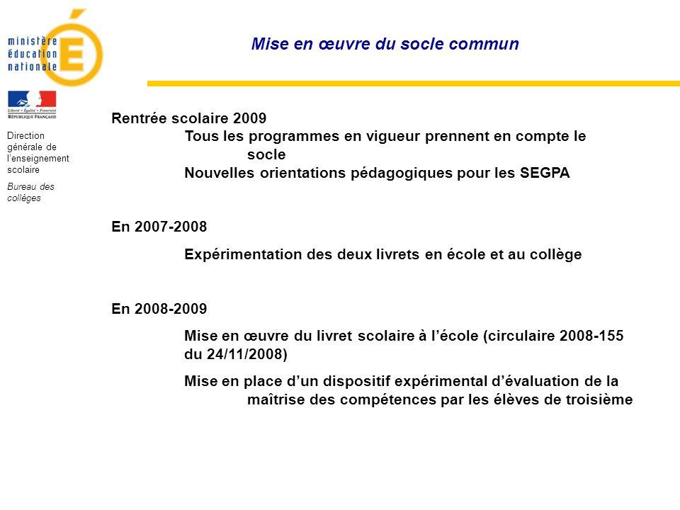 Direction générale de lenseignement scolaire Bureau des collèges Rentrée scolaire 2009 Tous les programmes en vigueur prennent en compte le socle Nouv