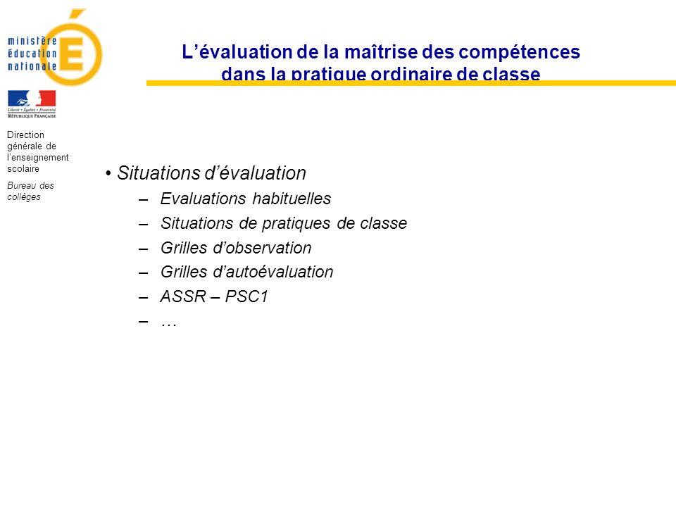 Lévaluation de la maîtrise des compétences dans la pratique ordinaire de classe Situations dévaluation –Evaluations habituelles –Situations de pratiqu