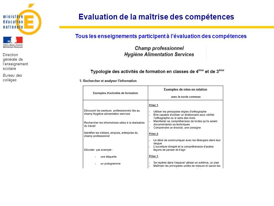 Evaluation de la maîtrise des compétences Direction générale de lenseignement scolaire Bureau des collèges Tous les enseignements participent à lévalu